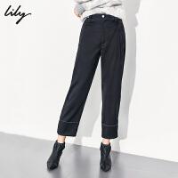 【不打烊价:245元】 Lily2019冬新款女装干练工装风辑线设计通勤黑色显瘦阔腿裤5906