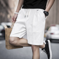 休闲短裤男潮夏天棉麻五分裤宽松运动中裤子大裤衩薄款韩版沙滩裤