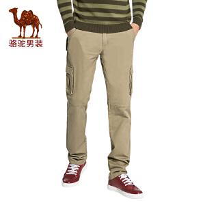 骆驼男装 秋季新款时尚男士青年纯色宽松中腰无弹休闲裤