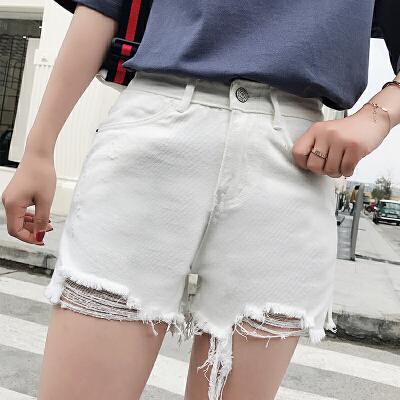 RANJU 然聚2018女装夏季新品新款高腰破洞牛仔裤女白色不规则毛边短裤显瘦热裤