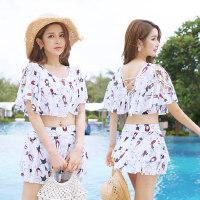 泳衣女三件套韩国泡温泉小香风分体性感显瘦小胸聚拢保守游泳衣