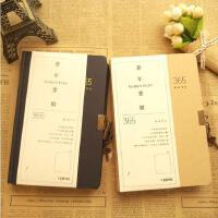 简约牛皮纸365天日记本时间管理手账本带锁空白计划本笔记本