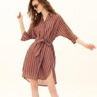 红袖/HOPESHOW条纹系带单排扣翻领连衣裙