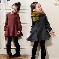韩版童装秋冬季款女童连衣裙加绒加厚中大童打底裙儿童公主裙子