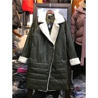 T8韩版女冬外套棉袄学生过膝羊羔绒皮毛一体棉衣女中长款1.05