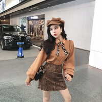 网红时尚两件套装女2018秋冬季韩版气质长袖衬衫高腰包臀半身裙潮