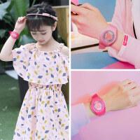 儿童时尚韩版少女心手表女孩粉色樱花粉可爱小孩糖果色防水闹钟电子表