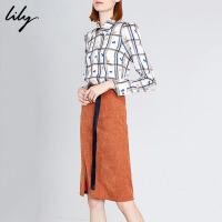 Lily2019冬新款女装商务通勤气质假两件收腰修身长袖连衣裙7941