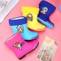 �和�雨鞋女童男童防滑雨靴中筒����水鞋加�q棉中大童�W生小孩�z鞋