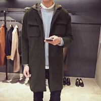 呢子大衣男中长款外套韩版男士风衣新款帅气修身毛呢外套男 军绿色 M
