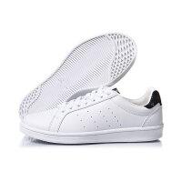 李宁女子小白鞋滑板鞋耐磨防滑经典休闲鞋AGCM224-4