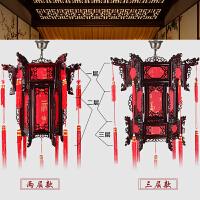 木质宫灯仿古花灯六角羊皮手工实木中式大红灯笼室内户外阳台吊灯