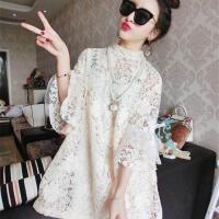 裙子冬季新款女潮学生韩版气质喇叭袖蕾丝娃娃裙打底连衣裙女