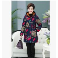 妈妈装棉衣中年女冬装外套中长款宽松中老年40-50岁棉袄印花