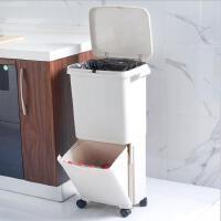 分类垃圾桶 家居日式双层大号干湿分离垃圾箱厨房大容量可移动垃圾桶带盖防异味带滑轮免弯腰