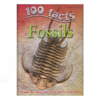 【首页抢券300-100】100 Facts Fossils 100个事实 化石 儿童英语百科科普知识大全百科全书 英文