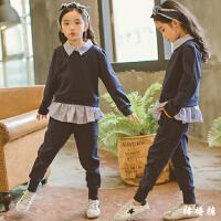 韩国女童卫衣套装2018春款时尚中大儿童条纹潮衣运动哈伦裤套