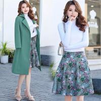 秋冬新款女装韩版毛呢外套中长款呢子大衣显瘦套装套裙三件套