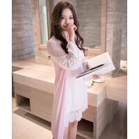 春夏长袖镂空蕾丝家居服性感睡衣带胸垫XC #8090淡粉色