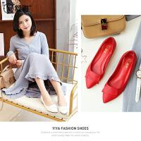 【毅雅】2018春季新浅口粗跟尖头单鞋女士OL通勤小红鞋中跟工作鞋女鞋 YD8AC0197