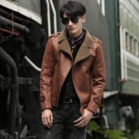 男士皮衣修身款秋冬季潮流韩版皮夹克帅气加绒PU机车青年时尚上衣