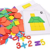 早教益智木质七巧板宝宝拼板智力儿童拼图玩具2-3-4-5-6岁男女孩