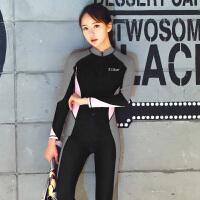 游泳衣少女连体防晒长袖长裤显瘦遮肚大码专业训练水母服保守泳衣