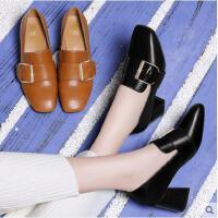 古奇天伦新款韩版百搭小皮鞋黑色单鞋子高跟鞋女粗跟英伦风女鞋秋冬季VBN8839