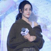 2018秋冬新明星同款迪丽热巴张雪迎粗线宽松套头加厚慵懒风毛衣女