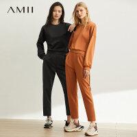 【券后预估价:88元】Amii极简洋气显瘦九分裤休闲套装女2019秋季新款宽松卫衣两件套