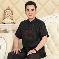 唐装男士香云纱真丝短袖中国风男装中式衬衫桑蚕丝套装大码爸爸装