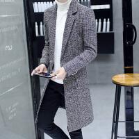 冬季韩版修身帅气风衣男长款大衣男士毛呢外套妮子个性中长款披风 黑色 0