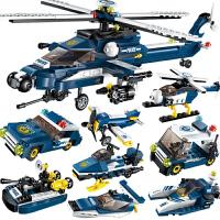启蒙积木飞机8合1直升机警察儿童智力拼装玩具男孩子礼物
