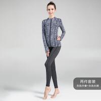 预售-健身服女专业运动套装健身房瑜伽服套装女带胸垫长袖速干衣 K17005灰色外套+灰色长裤