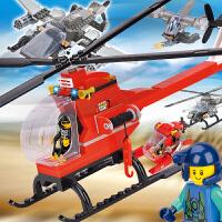 男儿童玩具拼装积木塑料拼插积木积木军事积木3合1直升机