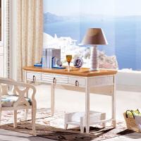 尚满 地中海系列书房书桌 书房家具实木框架书桌书台 水曲柳实木框架书桌带主机架(不含椅子)