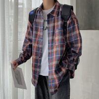 长袖男衬衫春秋韩版潮流青少年学生格子休闲衬衣男生宽松外套衣服