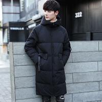 中长款羽绒服男士2017新款韩版修身加厚连帽外套冬季帅气羽绒衣潮