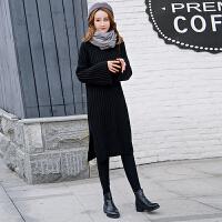 新款高领毛衣女秋冬宽松加厚毛衫打底裙韩版针织裙子女中长款 黑色