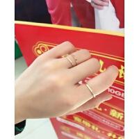 极细彩金戒指女日韩潮人学生简约个性尾戒小指韩国钛钢18k玫瑰金