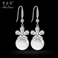 s925纯银珍珠耳坠长款气质水晶耳环女时尚简约百搭猫眼耳钉