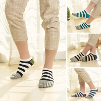 短分指男士五指袜 男生棉运动浅口板鞋脚趾袜 黑白色条纹