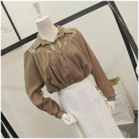 春季POLO领大码宽松蕾丝拼接薄款单排扣衬衫女24345