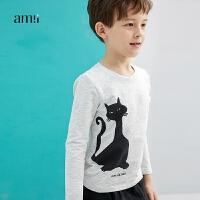 AMII童装装中大儿童白色长袖t恤男儿童12-15岁趣味印花上衣男孩#