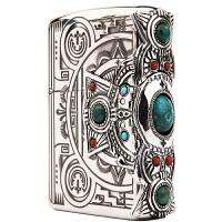 芝宝Zippo打火机 镀银双面雕刻三面贴章 392印第安神灵 侧十字架松石贴章