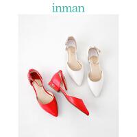 茵曼女鞋春秋凉鞋平底红色婚鞋简约一字扣凉鞋女小仙女单鞋