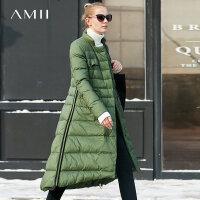 【会员节! 每满100减50】Amii 时髦 90白鸭绒羽绒服女 冬装新直筒立领织带外套