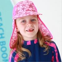 男女儿童防晒遮阳游泳帽沙滩玩耍护颈帽遮阳帽泳帽护耳布帽鬼子帽