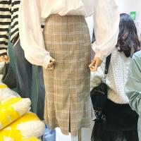 韩国ulzzang2018春装新款格子高腰修身半身裙韩版中长款包臀裙女