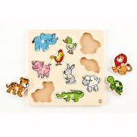 Hape动物大抓手拼图2-6岁早教启蒙益智玩具木质积木拼插拼图拼板E6318